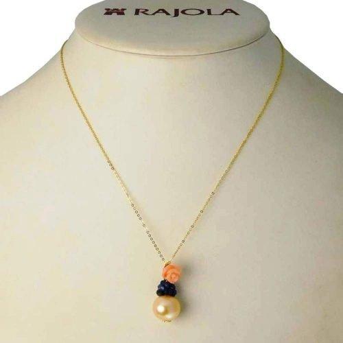 Catenina e ciondolo di perle, zaffiri e corallo, Rajola. Collezione OASI. Codice 38-29PC1.