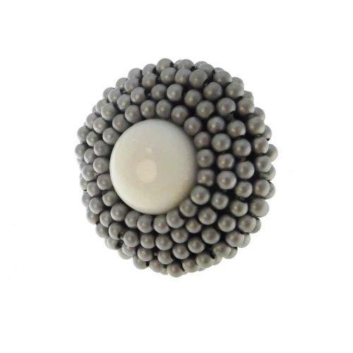 Anello di ematite satin, agata blu, pen shell, argento ed oro, Rajola. Collezione MOULIN ROUGE. Codice 54-458-1AN.