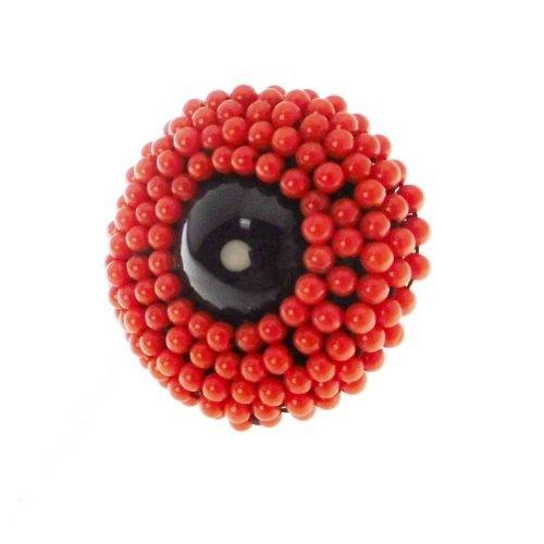 Anello di onice, corallo rosso, pen shell, argento ed oro, Rajola. Collezione MOULIN ROUGE. Codice 54-458-7AN.