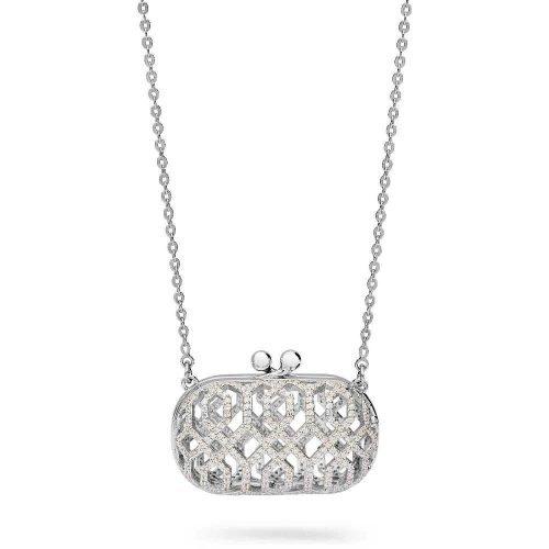 Collana da donna in argento e cristalli, Rosato. Collezione ICONE. Codice RIC18.