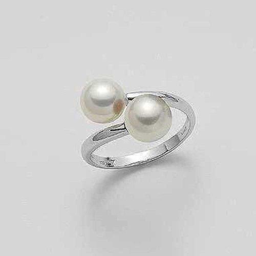 Anello in Oro Bianco con due Perle di acqua dolce, Mikiko. Collezione FRESH WATER. Codice MA0564O4FABI075.
