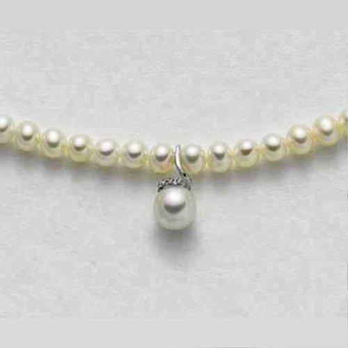 Collana di Perle con Perla pendente, Oro Bianco e Brillanti, Mikiko. Collezione FRESH WATER. Codice MC1019O4FCBI045.