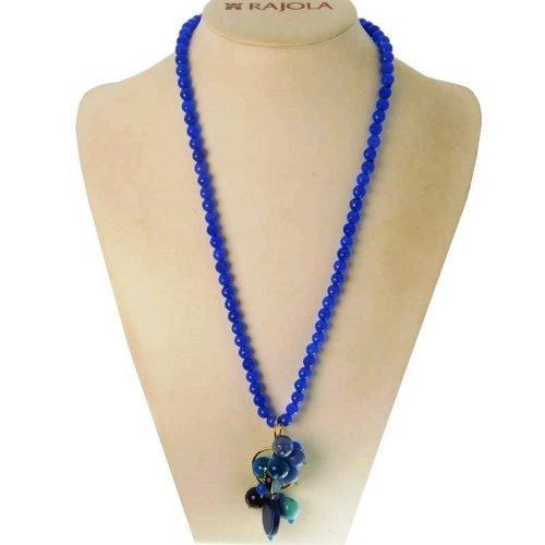 Collana con Agata blu Multicolore ed Argento, Rajola. Collezione ELBA. Codice 45-409-5.