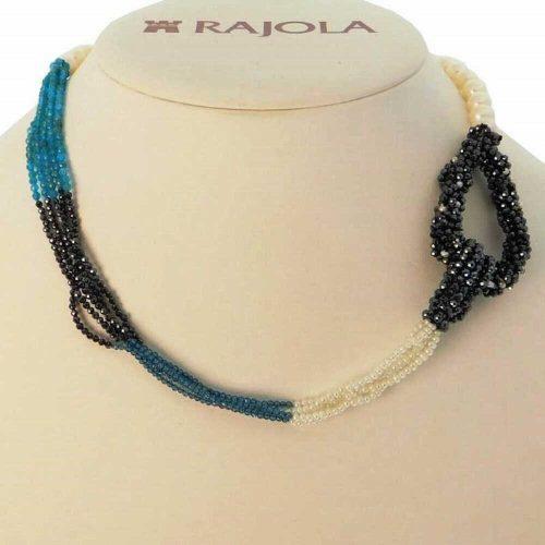 Collana cinque fili con Perle Bianche, Apatite, Topazio Blu, Mop ed Oro, Rajola. Collezione GALILEO. Codice 54-414-6.