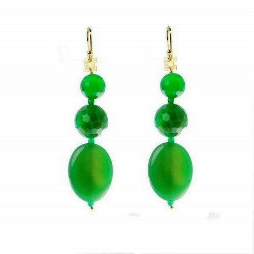 Orecchini con Agata Verde, Perle Verdi ed Argento, Rajola. Collezione ODESSA. Codice 45-408-5OR.
