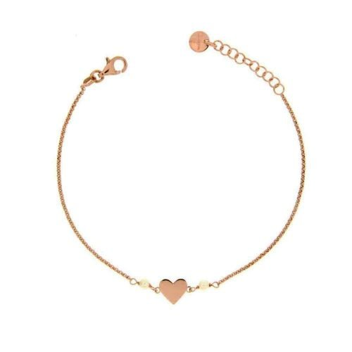 Bracciale a catenella con due perle e Cuore centrale, Rue des Mille. Collezione I SOGNI SON DESIDERI. Codice BRCATPE-CUORE.