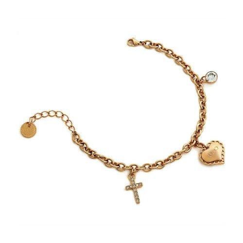 Bracciale da donna a catena con pendenti in Acciaio di colore Oro rosa, Liujo Gioielli. Collezione SACRED PASSION SAN VALENTINO. Codice LJ1450.
