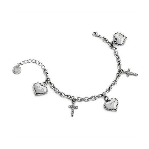 Bracciale da donna a catena in Acciaio di colore Argento con Cuori e Croci pendenti, Liujo Gioielli. Collezione SACRED PASSION SAN VALENTINO. Codice LJ1453.