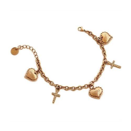 Bracciale da donna a catena in Acciaio di colore Oro Rosa con Cuori e Croci pendenti, Liujo Gioielli. Collezione SACRED PASSION SAN VALENTINO. Codice LJ1454.