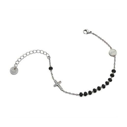 Bracciale da donna a catena in Acciaio di colore Argento e Nero con Croce pendente, Liujo Gioielli. Collezione SACRED PASSION SAN VALENTINO. Codice LJ1458.