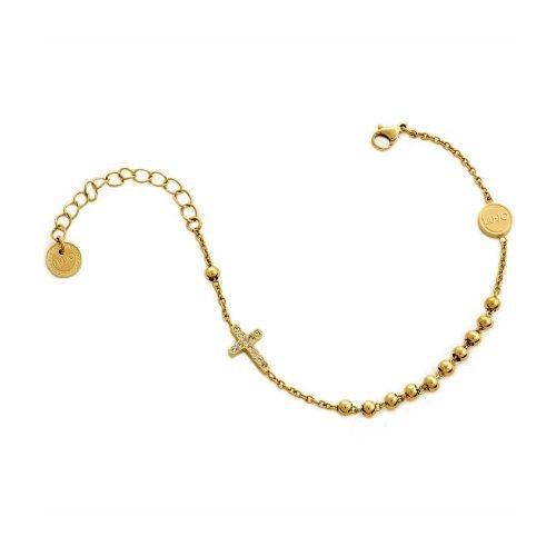 Bracciale da donna a catena in Acciaio di colore Oro giallo con Croce pendente, Liujo Gioielli. Collezione SACRED PASSION SAN VALENTINO. Codice LJ1459.