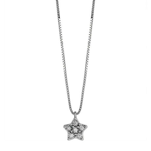 Collana con Stella pendente in Oro bianco con Diamante, Bliss Gioielli. Collezione RUGIADA. Codice 20085123.