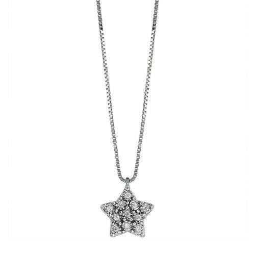 Collana con Stella pendente in Oro bianco con Diamante, Bliss Gioielli. Collezione RUGIADA. Codice 20085128.