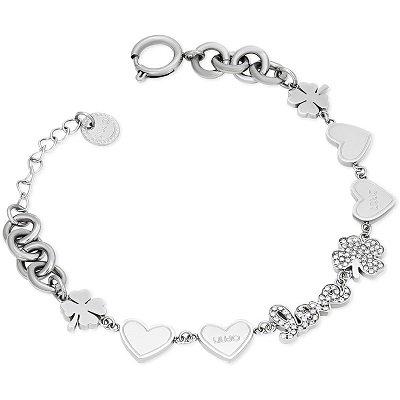 Bracciale da donna a catena in Acciaio. Lunghezza 17 Cm. Pendenti cuore, scritta love e cristalli. Collezione JEWELS. Codice LJ1407.