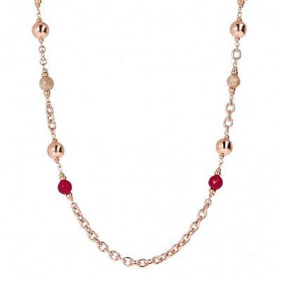 Collana con pietre naturali colorate. Placcatura in Oro Rosa 18kt. Collezione VARIEGATA. Codice WSBZ01621.PMN.