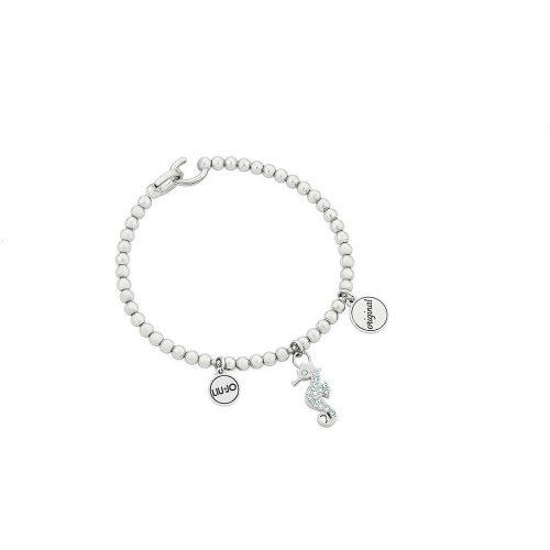 Bracciale da donna in Acciaio di color Argento. Lunghezza 6 cm. Cristalli turchesi sul pendente. Collezione JEWELS. Codice LJ1485.