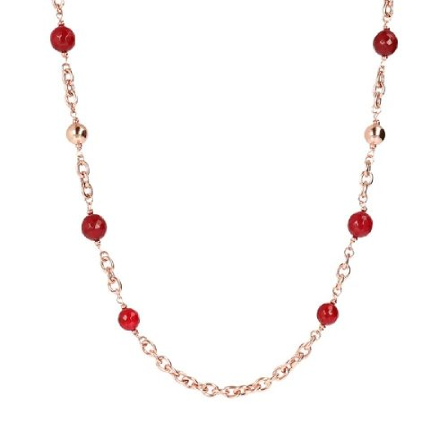 Collana con sfere Golden Rosè e pietra naturale, Bronzallure. Collezione VARIEGATA. Codice WSBZ01875.PA.